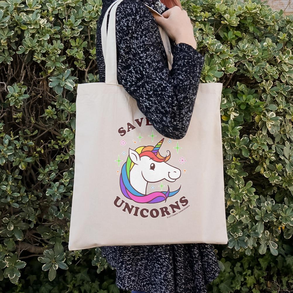 Save the Unicorns Rainbow Funny Humor Grocery Travel Reusable Tote Bag