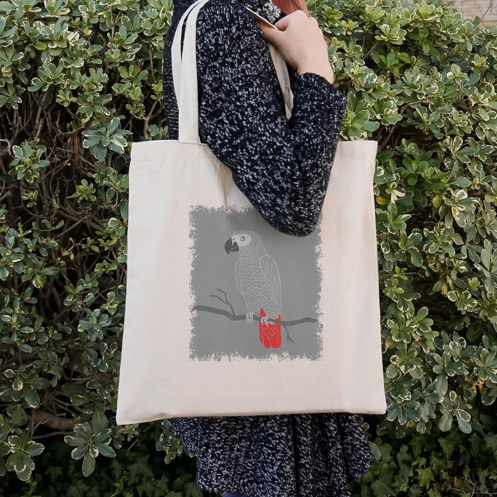 African Grey Parrot Bird Pet Grocery Travel Reusable Tote Bag