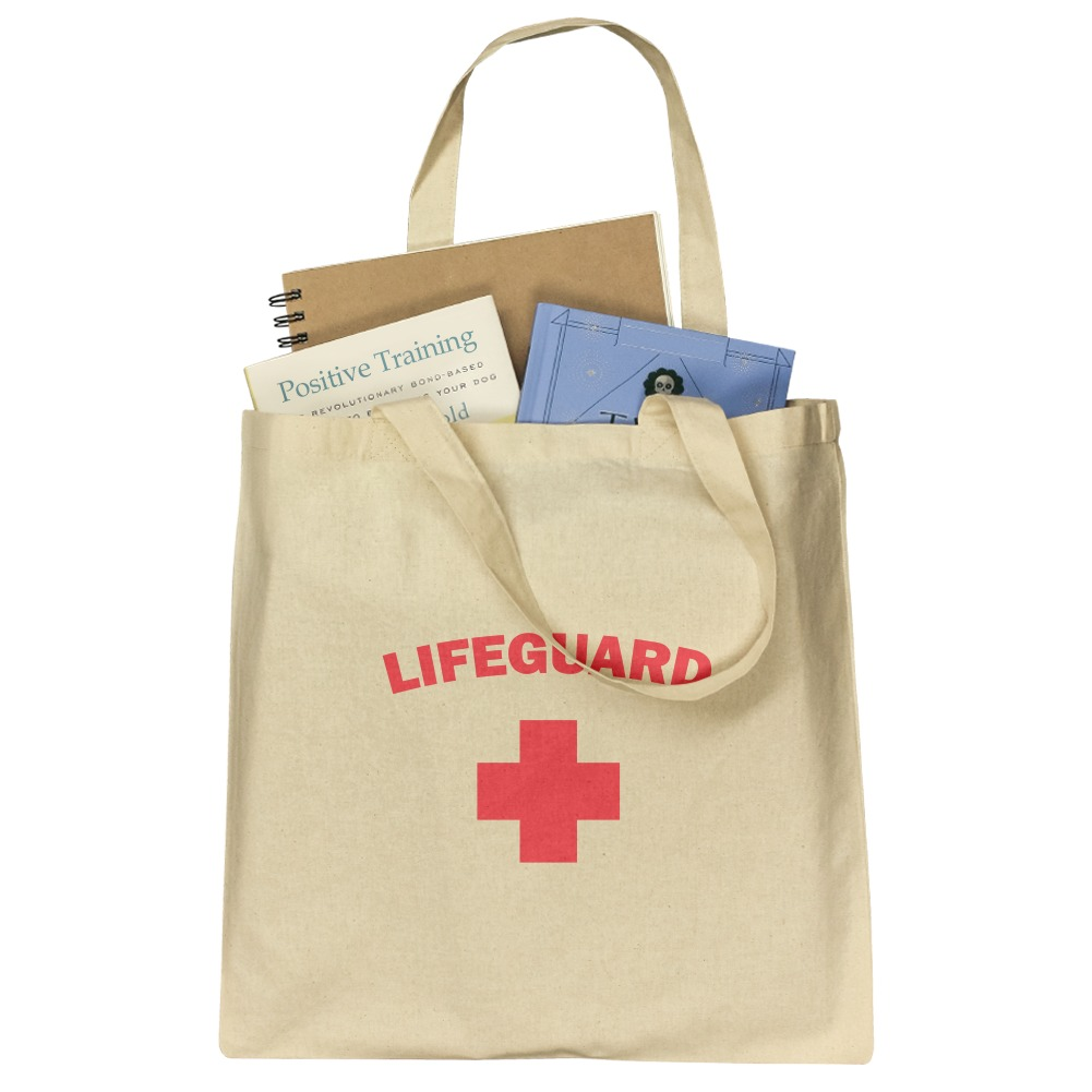 b2b91f28948 Lifeguard Red and White Grocery Travel Reusable Tote Bag