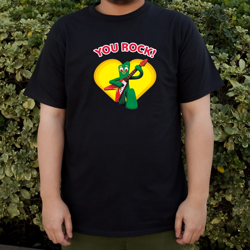Gumby-with-Guitar-You-Rock-Heart-Men-039-s-Novelty-T-Shirt thumbnail 3