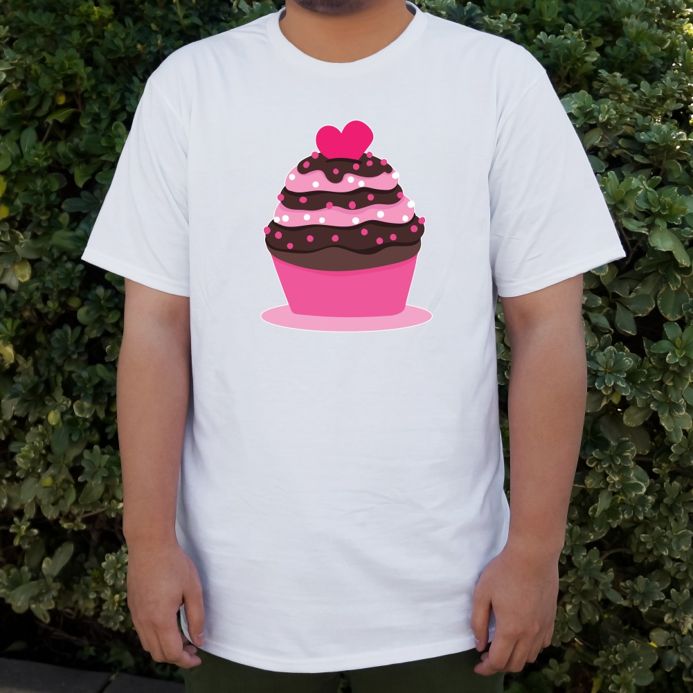 Strawberry Chocolate Cupcake Love Heart Men/'s Novelty T-Shirt