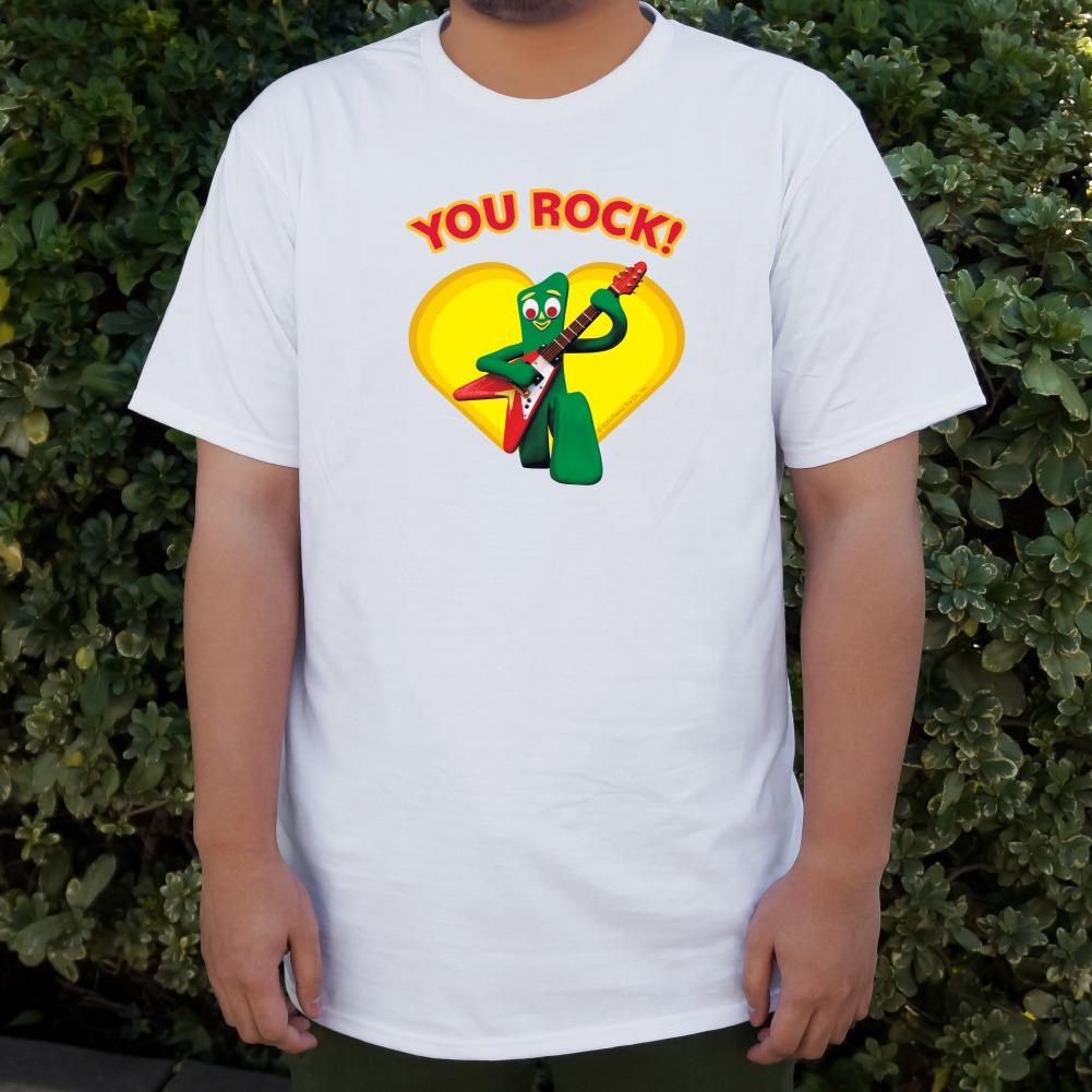 Gumby-with-Guitar-You-Rock-Heart-Men-039-s-Novelty-T-Shirt thumbnail 7