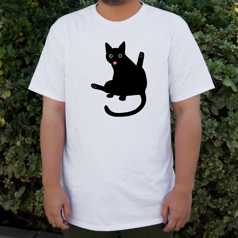Black Cat Lifting Leg and Licking Men/'s Novelty T-Shirt