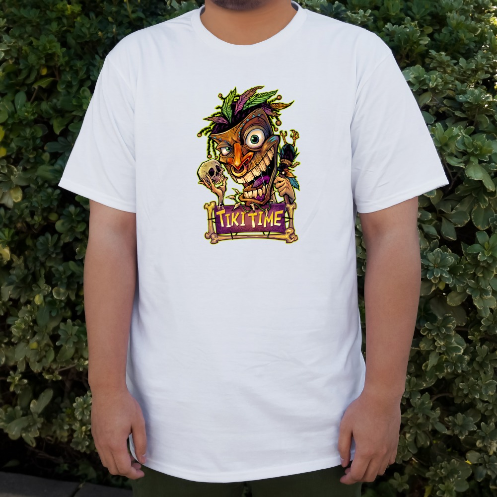 Tiki Time Witch Doctor Tropical Island Men/'s Novelty T-Shirt