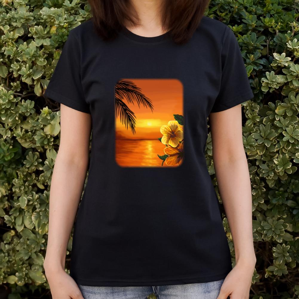 441d74aa Beach Sunset Hibiscus Flower Hawaiian Women's Novelty T-Shirt | eBay