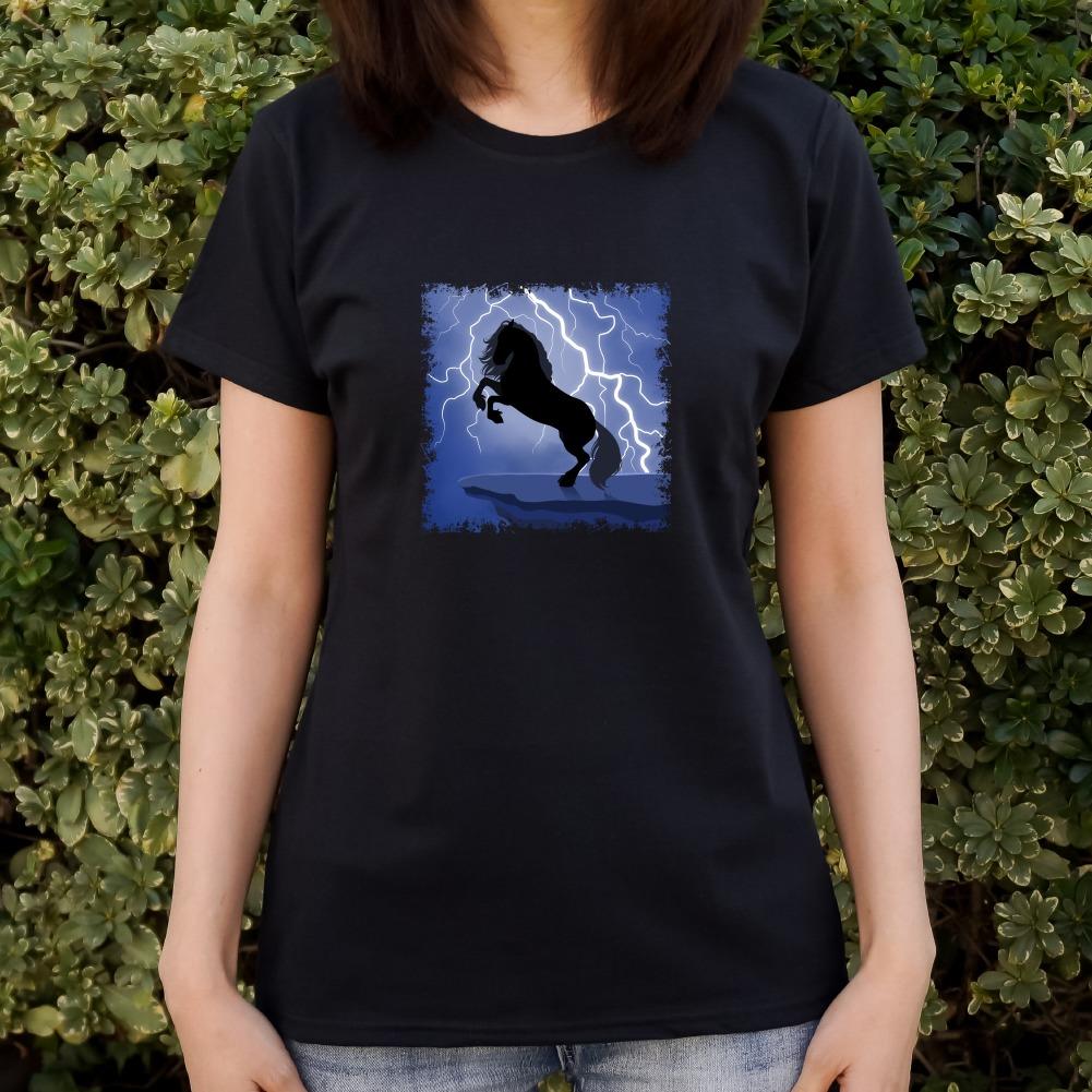 Black Friesian Horse Rearing Up in Storm Women/'s Novelty T-Shirt