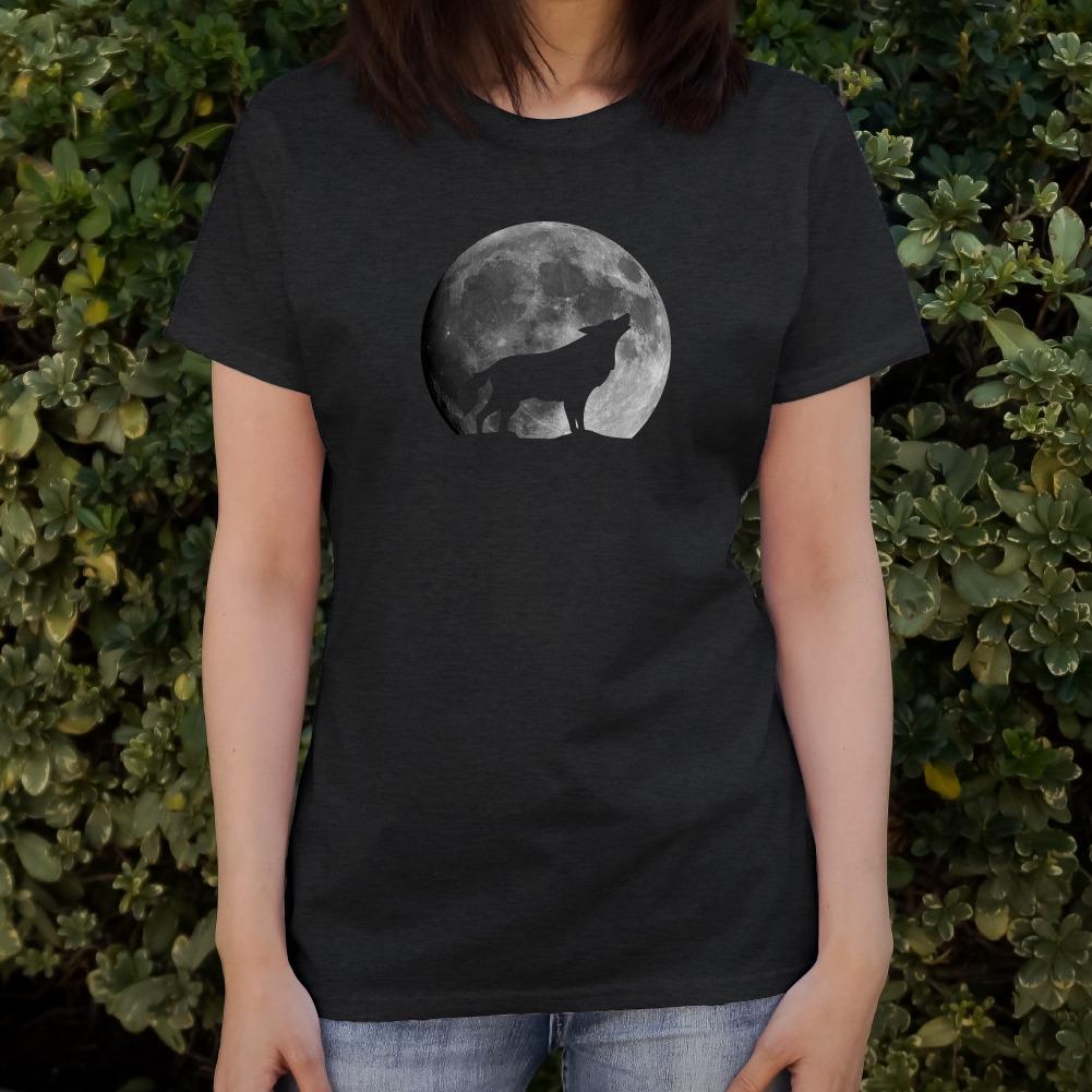 Wolf Howling Moon Silhouette Women/'s Novelty T-Shirt