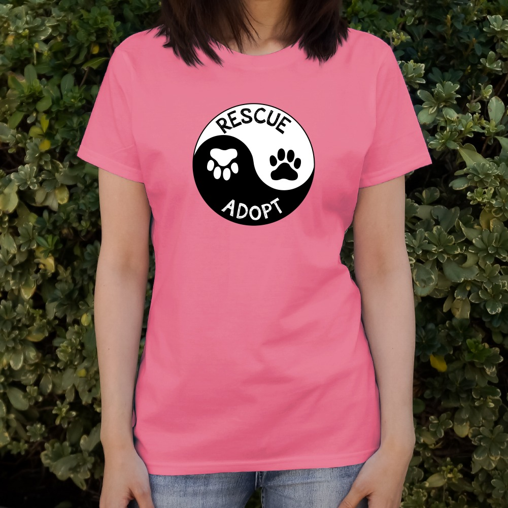 Rescue Adopt Yin Yang Paw Prints Dogs Cats Women/'s Novelty T-Shirt