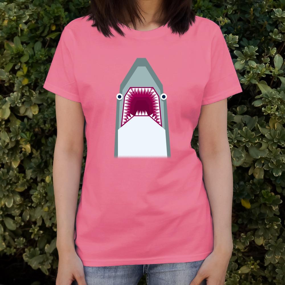 Geometric Shark Blue Women/'s Novelty T-Shirt