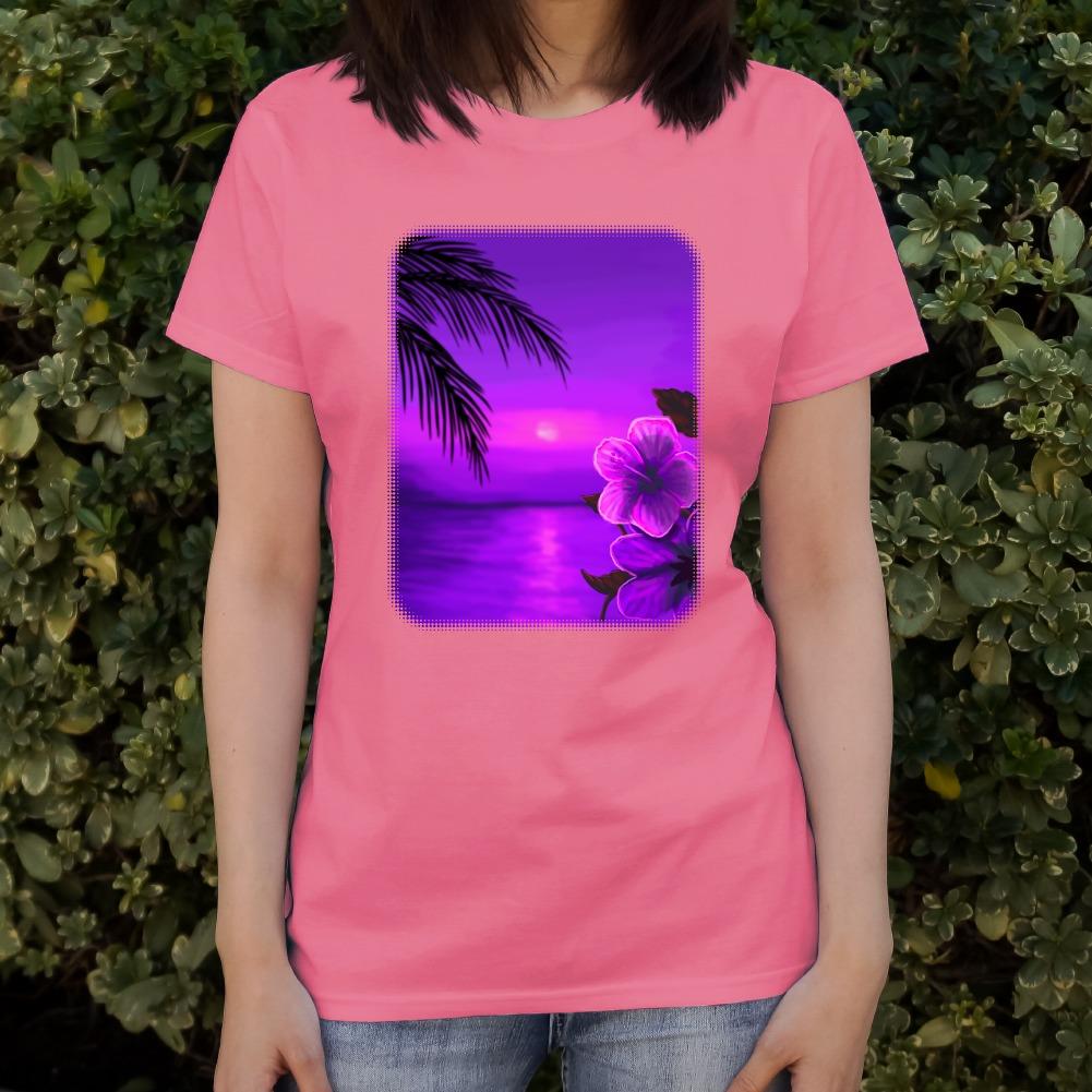 Beach Sunset Hibiscus Flower Hawaiian Purple Women/'s Novelty T-Shirt
