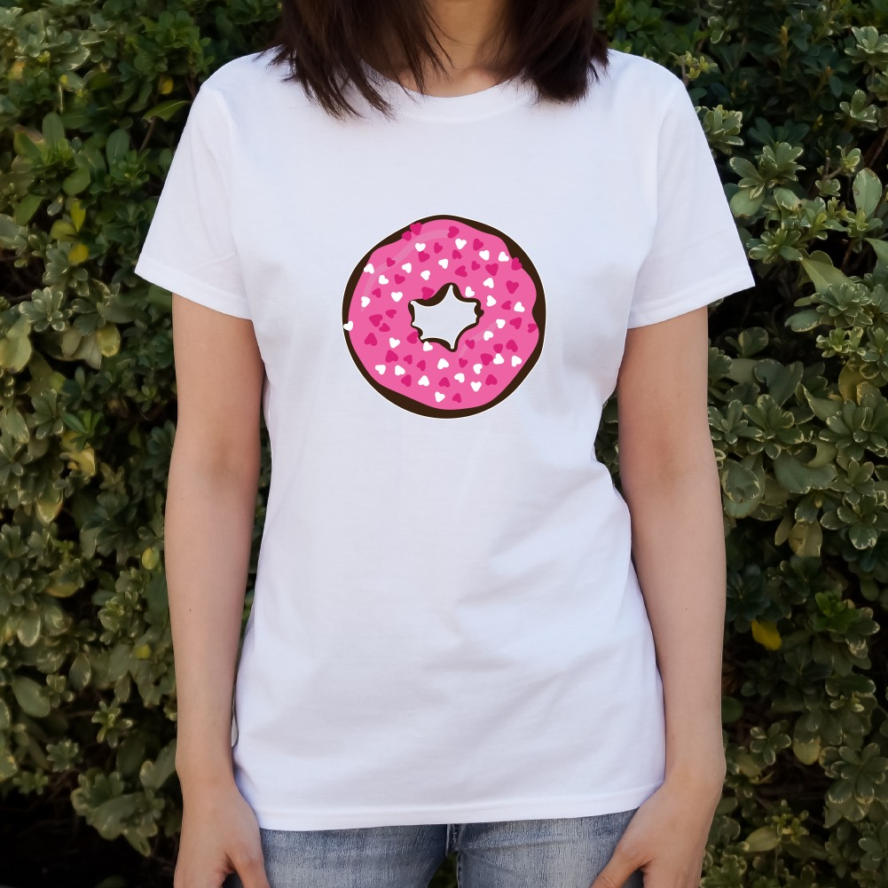 Cute Chocolate Valentine Donut Pink Hearts Women/'s Novelty T-Shirt