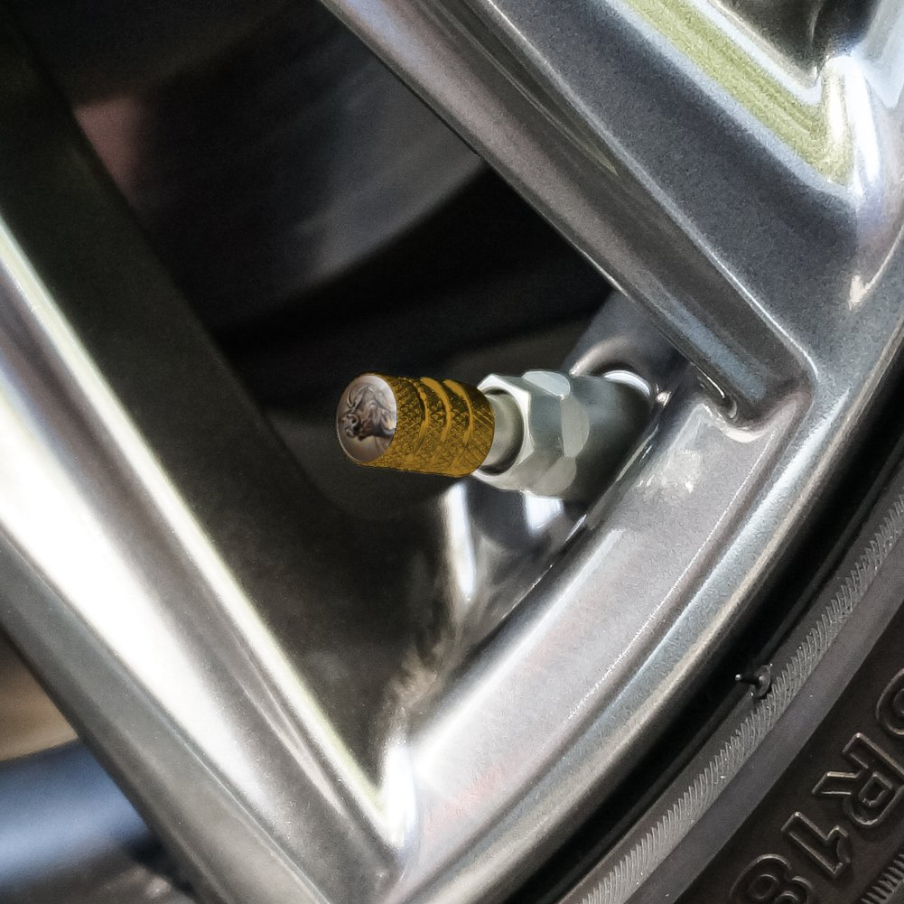 Cape African Buffalo Tire Rim Wheel Aluminum Valve Stem Caps
