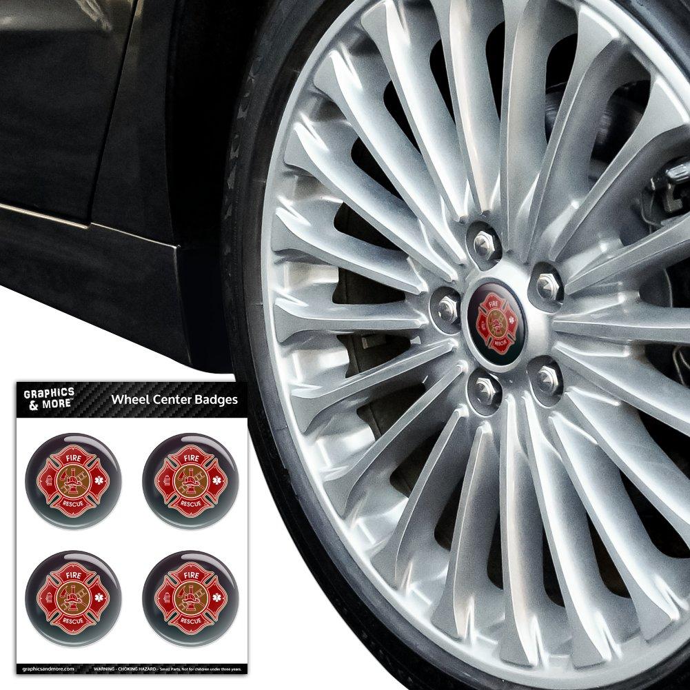 Firefighter Fire Rescue Maltese Cross Tire Wheel Center Cap Badge Stickers