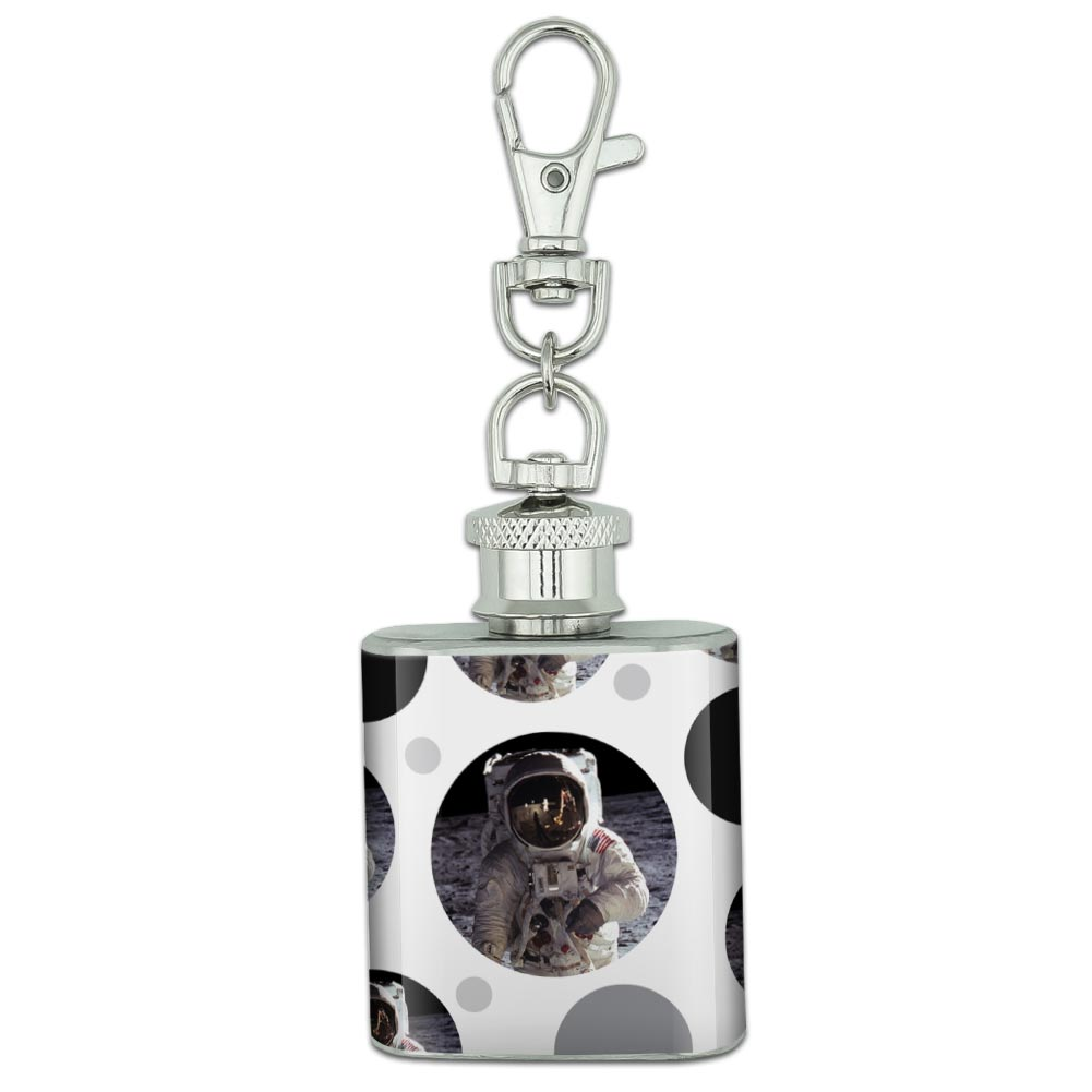 Stainless Steel 1oz Mini Flask Key Chain Space and Aliens
