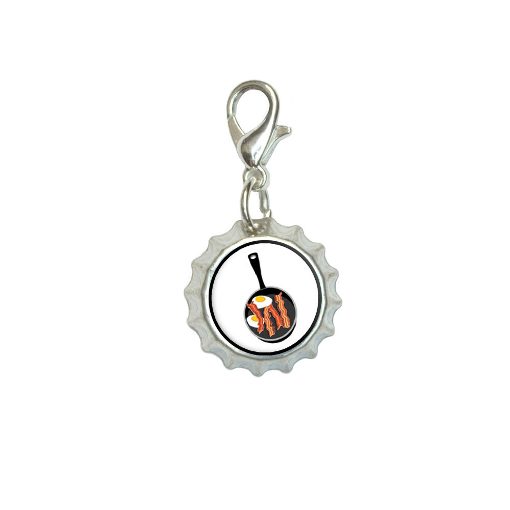Bacon-and-Eggs-White-Breakfast-Bracelet-Bottlecap-Charm-with-Lobster-Clasp
