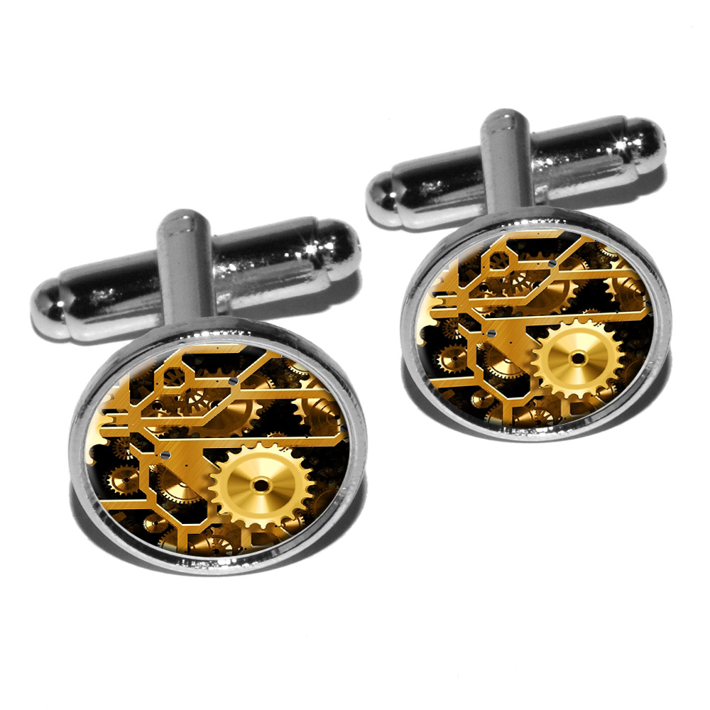 Gears in the Brass Machine Round Cufflink Set