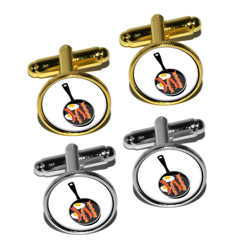 Bacon-and-Eggs-White-Breakfast-Round-Cufflink-Set