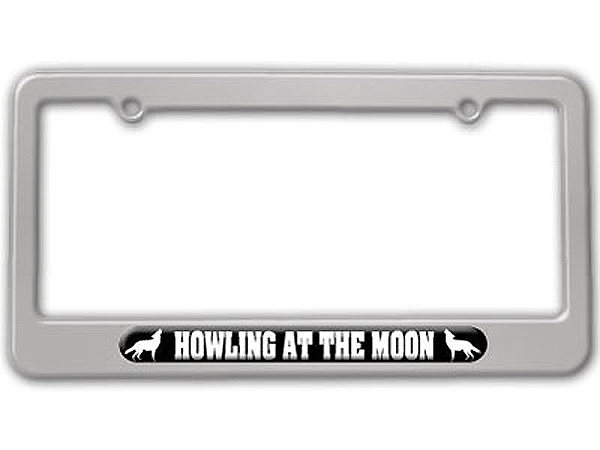 Wolf Howling At The Moon License Plate Tag Frame - Colors ...