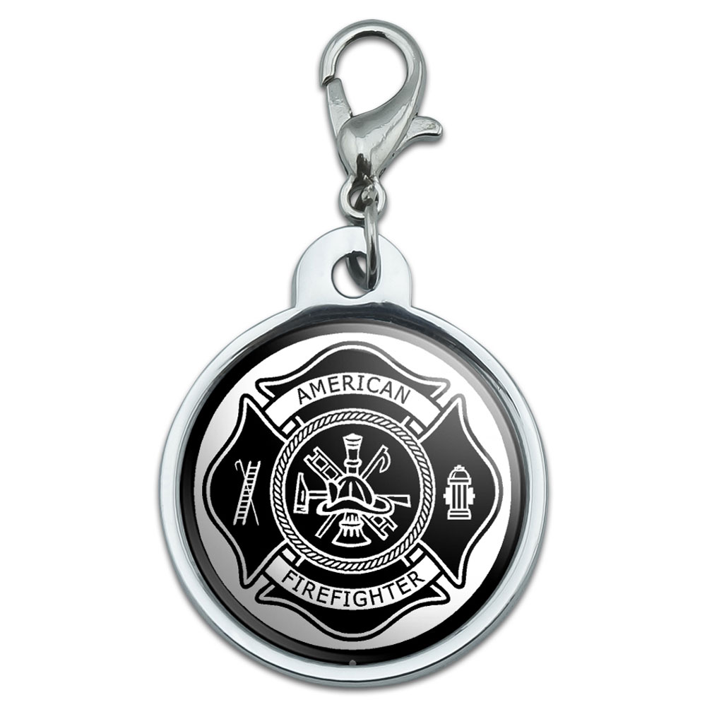 Chrome Plated Metal Small Pet Id Dog Cat Tag Zodiac: Chrome Plated Metal Small Pet ID Dog Cat Tag Firefighter