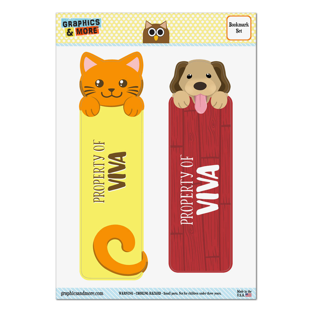 Set of 2 Glossy Laminated Cat and Dog Bookmarks Names Female Ve-Vo