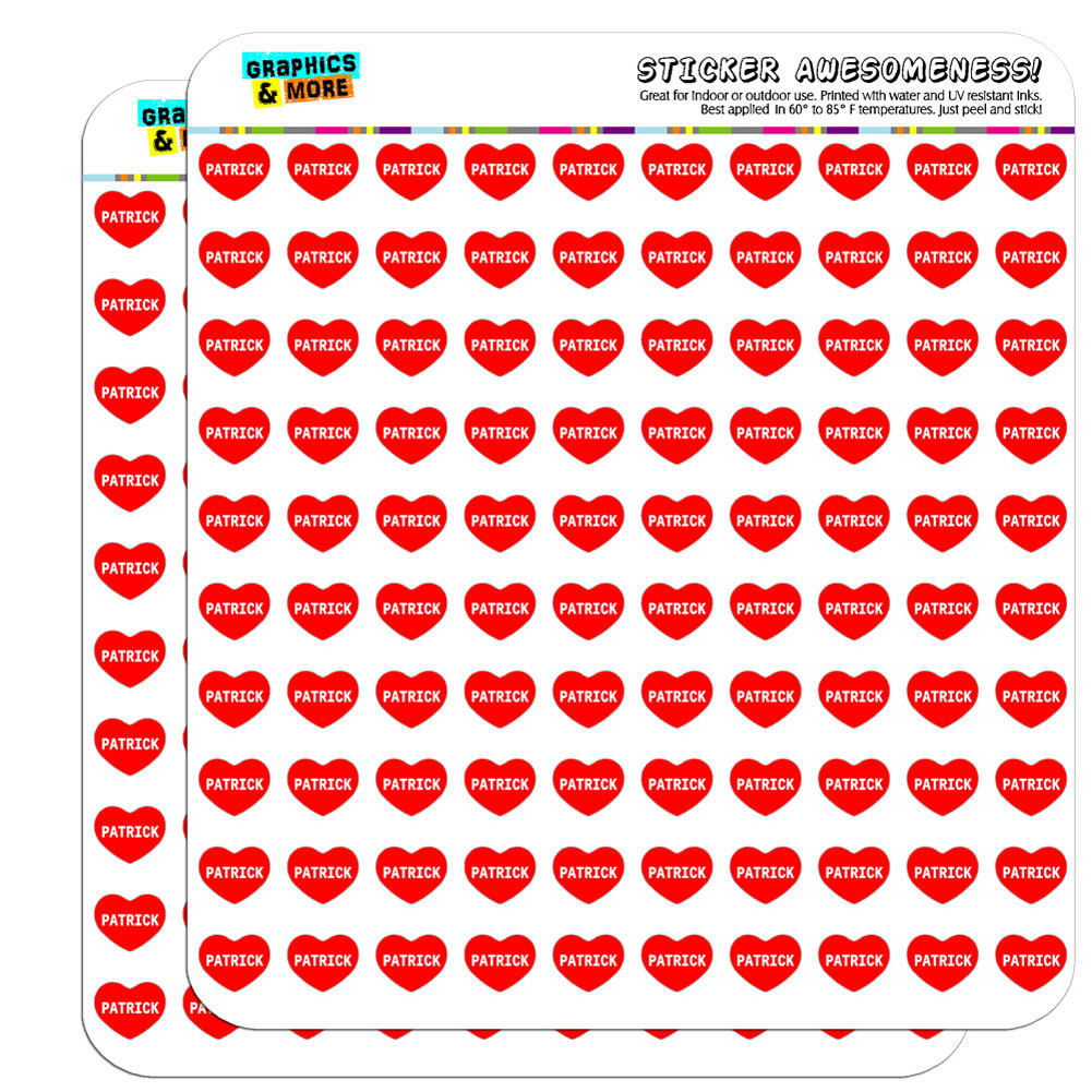"""1/2"""" (0.5"""") Scrapbooking Crafting Stickers I Love Heart Name N-R"""