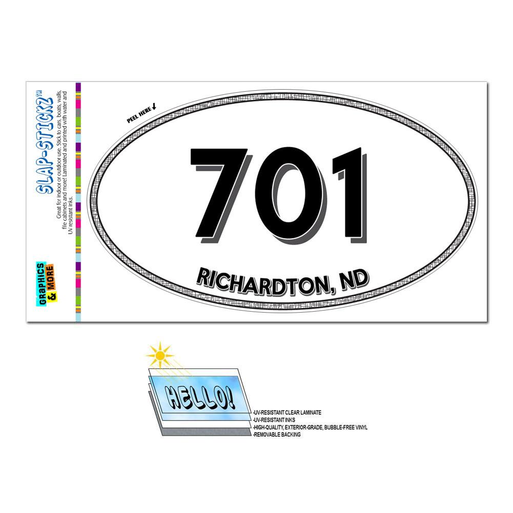 Area code oval window sticker 701 north dakota nd mountain saint