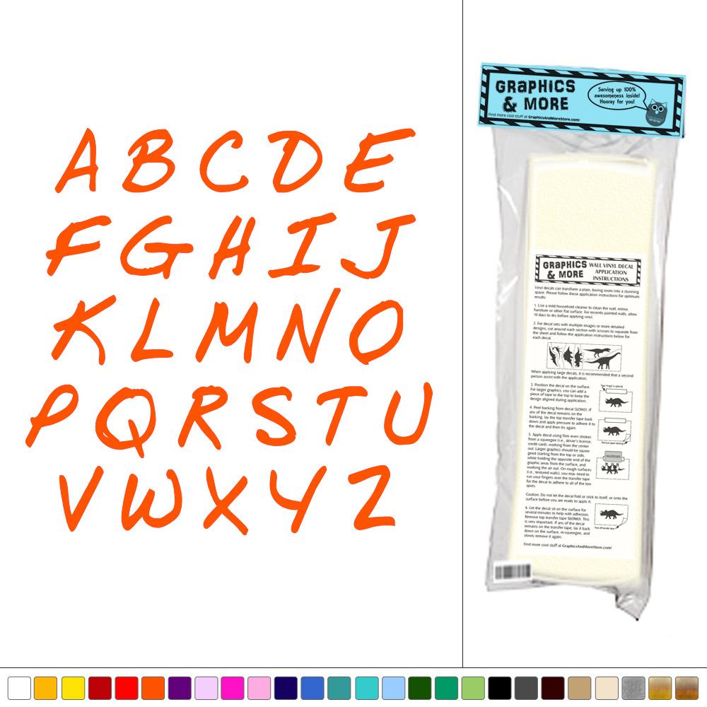 Alphabet handwriting kids room nursery classroom sticker for Alphabet mural nursery
