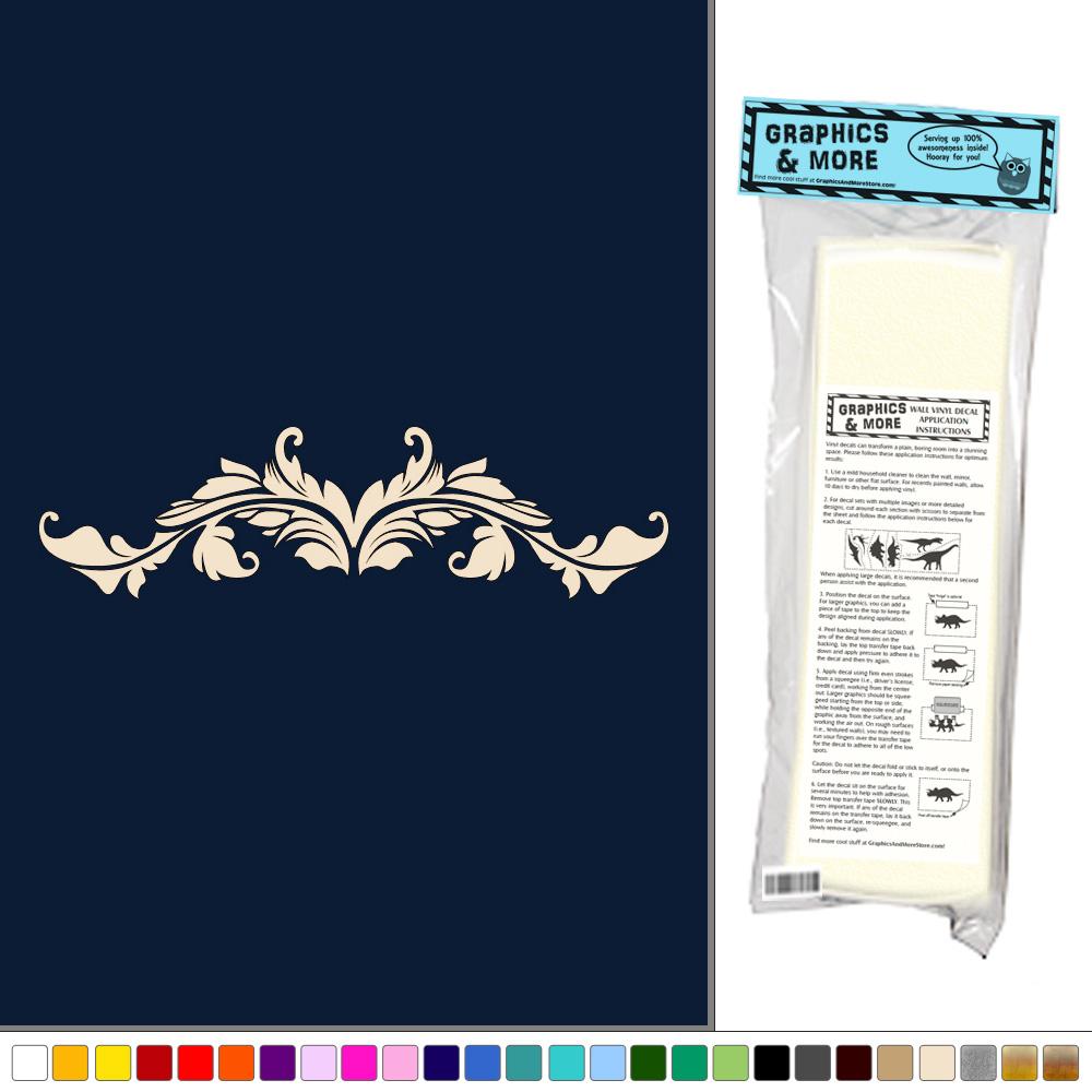 Flourish scroll floral door window vinyl sticker decal for Door mural decals