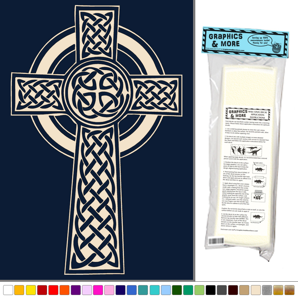 Celtic cross knotted vinyl sticker decal wall art decor for Celtic decorations home
