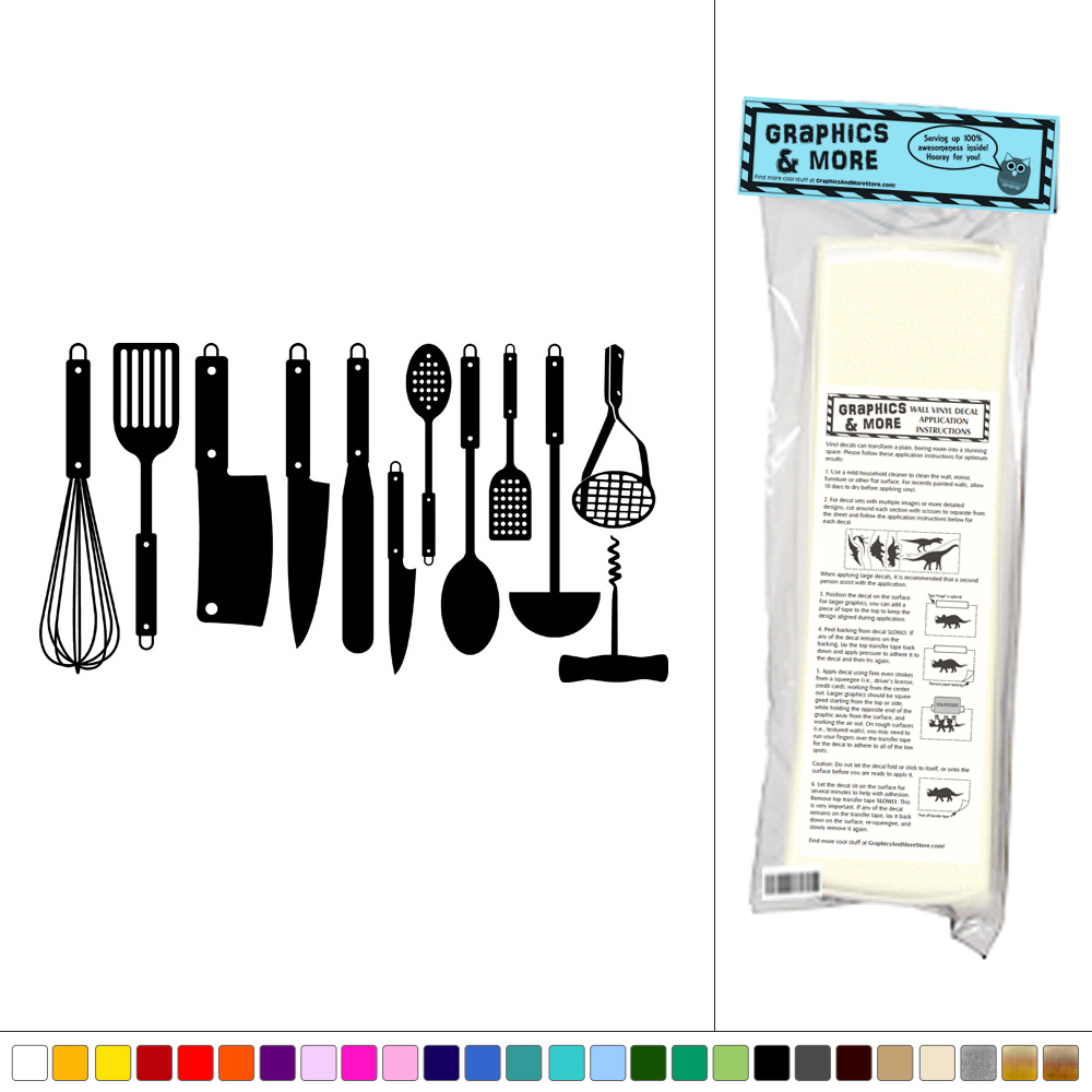 Set Of Kitchen Utensils Vinyl Sticker Decal Wall