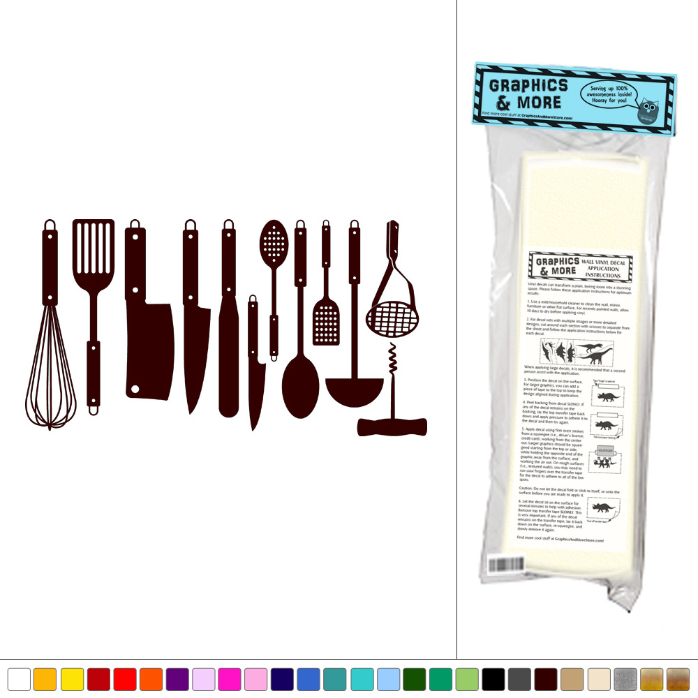 Set Of Kitchen Utensils Vinyl Sticker Decal Wall Art