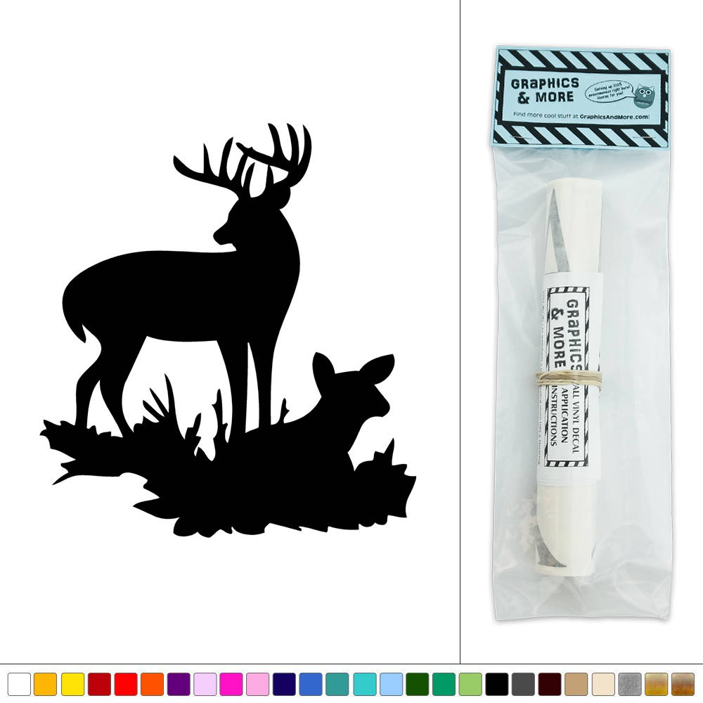Buck and doe relaxing deer vinyl sticker decal wall art for Deer mural decal
