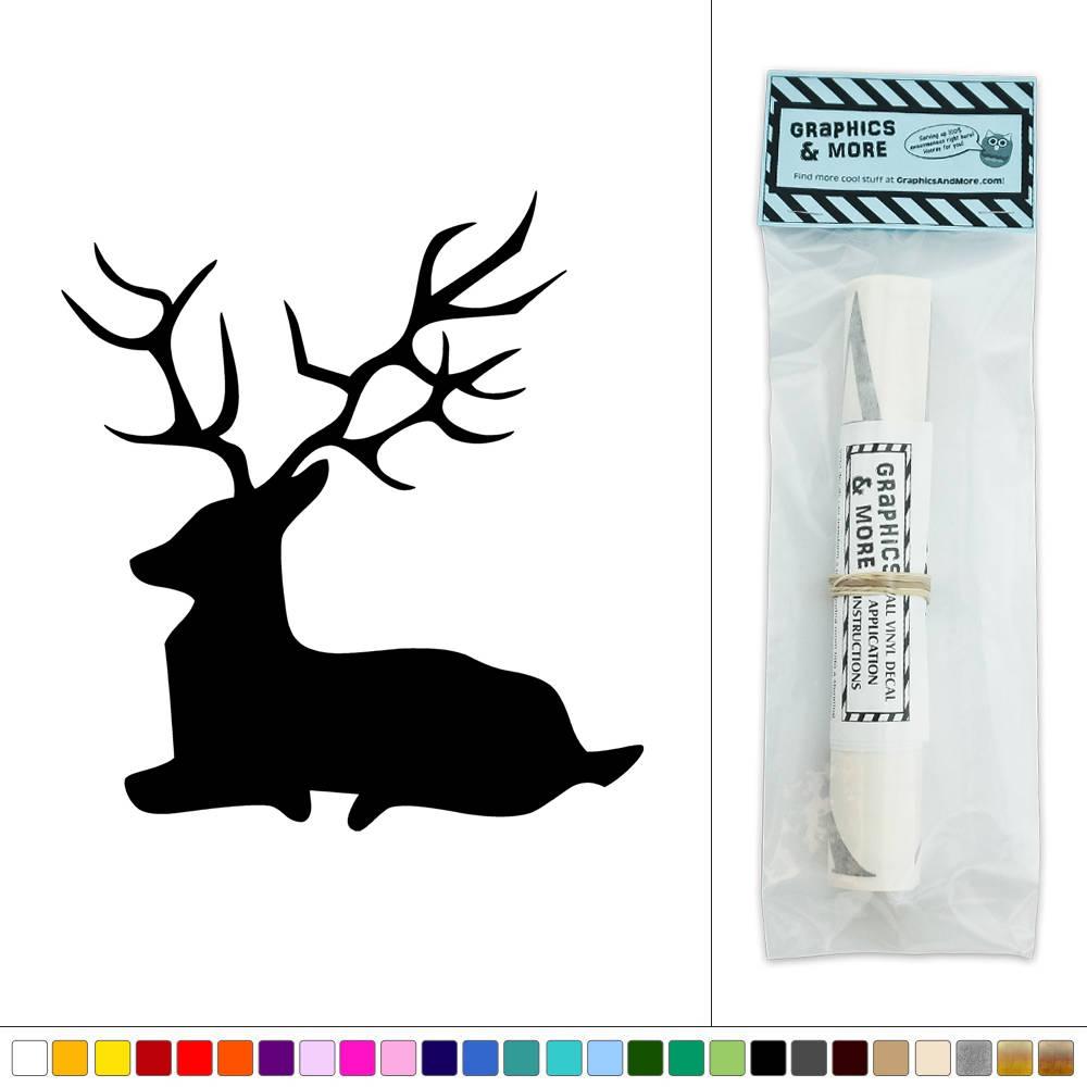 Proud deer buck laying down vinyl sticker decal wall art d cor for Deer mural decal