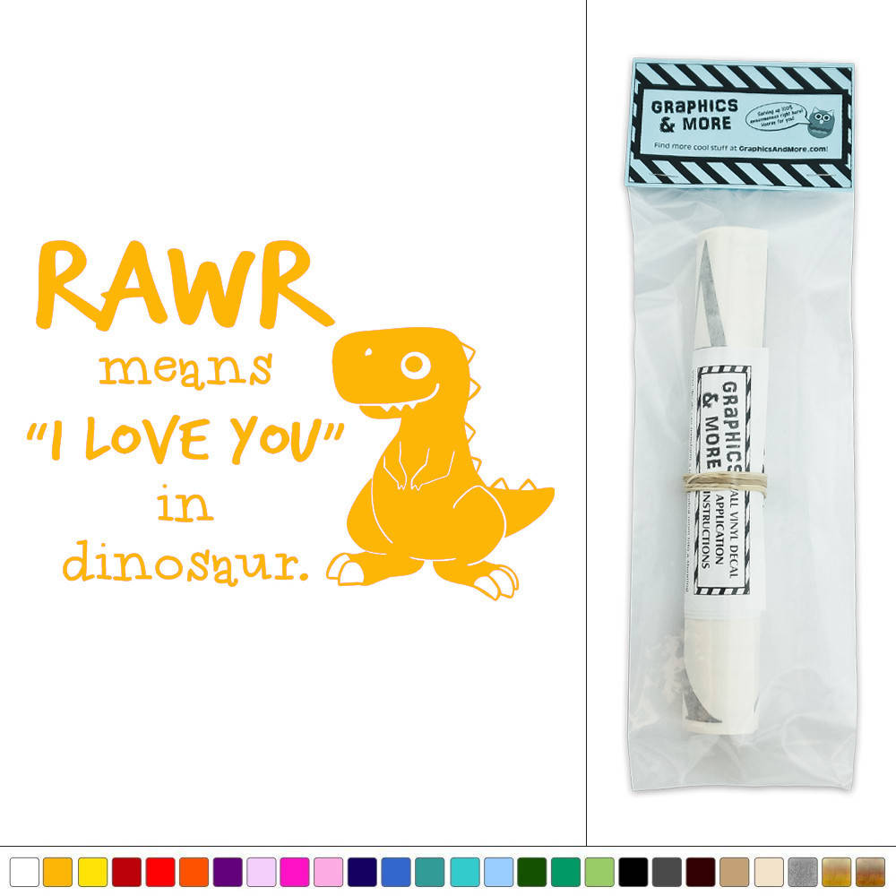Rawr Means I Love You Dinosaur T-Rex Vinyl Sticker Decal Wall Art ...