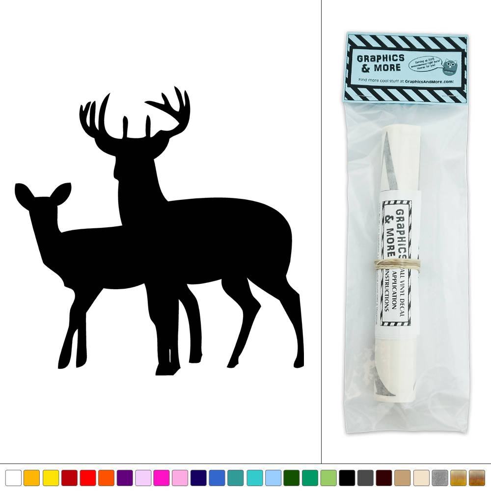 Two deer doe and buck vinyl sticker decal wall art d cor for Deer mural decal