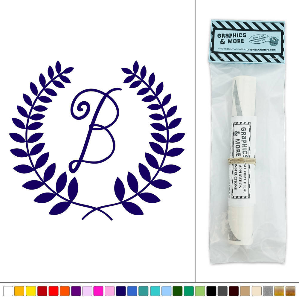 Wall Decor Letter B : Letter b monogram calligraphy laurel wreath vinyl sticker