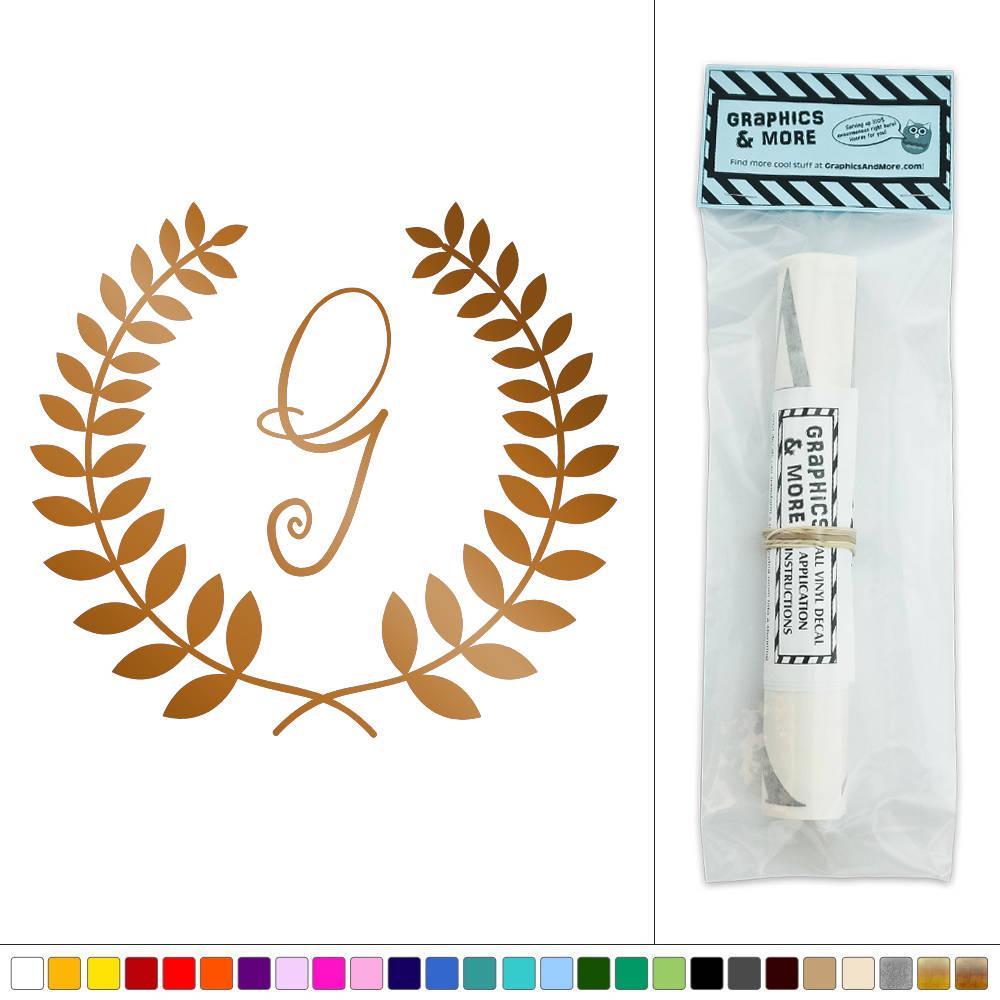 letter g monogram calligraphy laurel wreath vinyl sticker decal wall art d cor. Black Bedroom Furniture Sets. Home Design Ideas