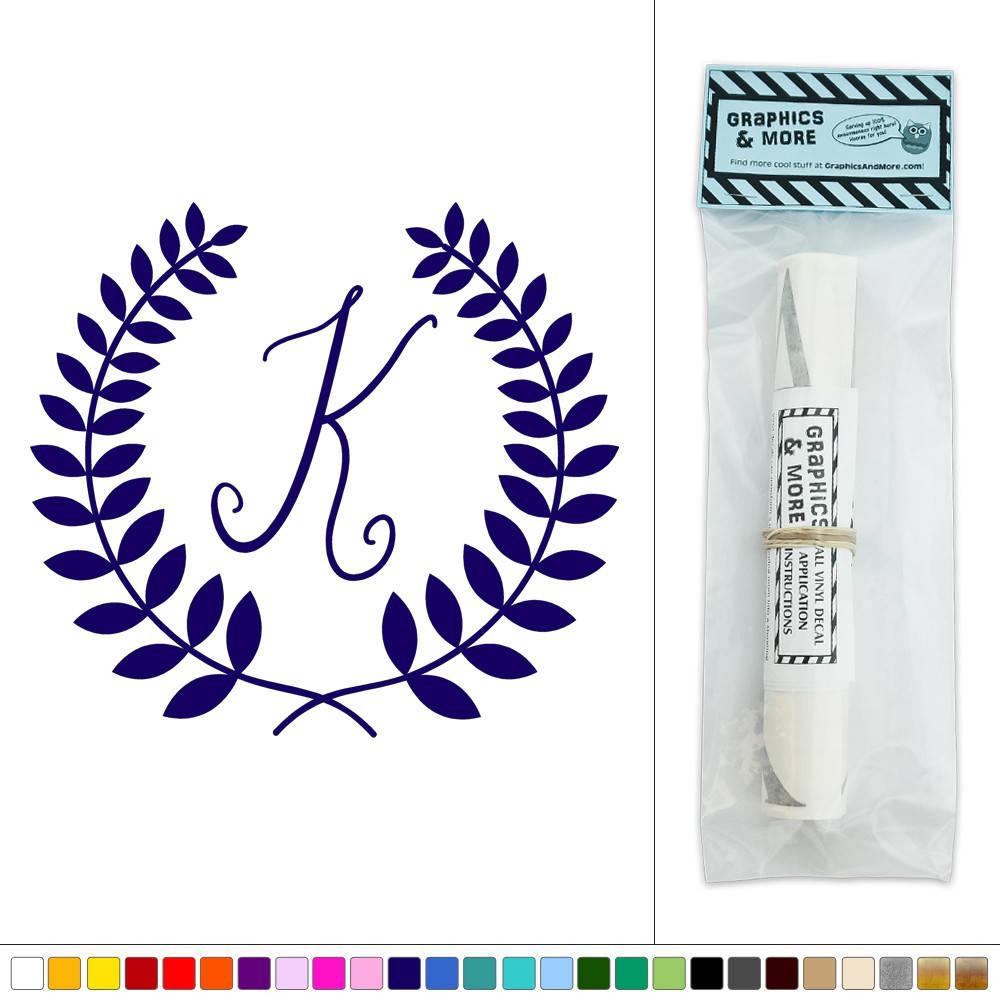 Letter k monogram calligraphy laurel wreath vinyl sticker
