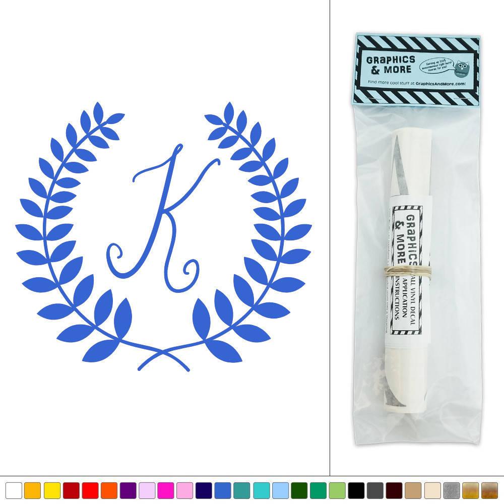 Letter k monogram calligraphy laurel wreath vinyl sticker for Letter k decoration