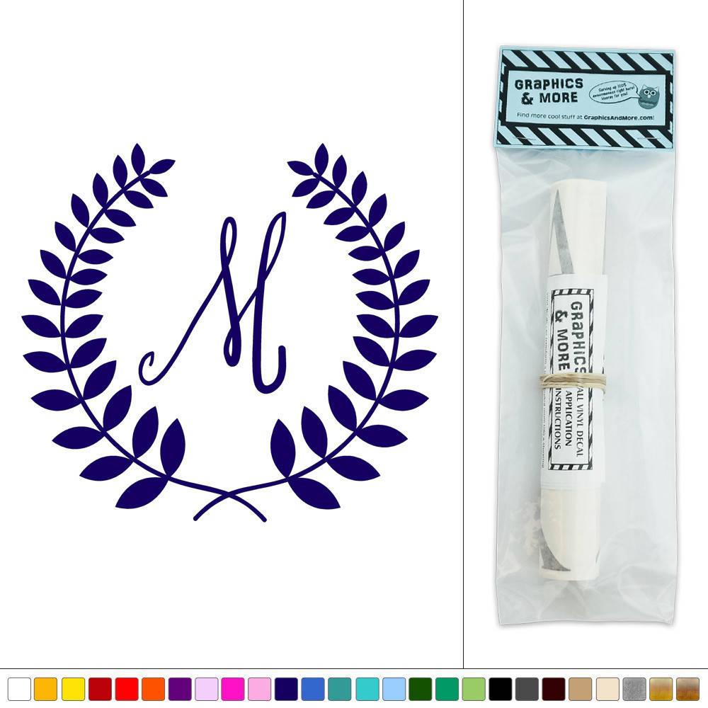 letter m monogram calligraphy laurel wreath vinyl sticker decal wall art d cor ebay. Black Bedroom Furniture Sets. Home Design Ideas