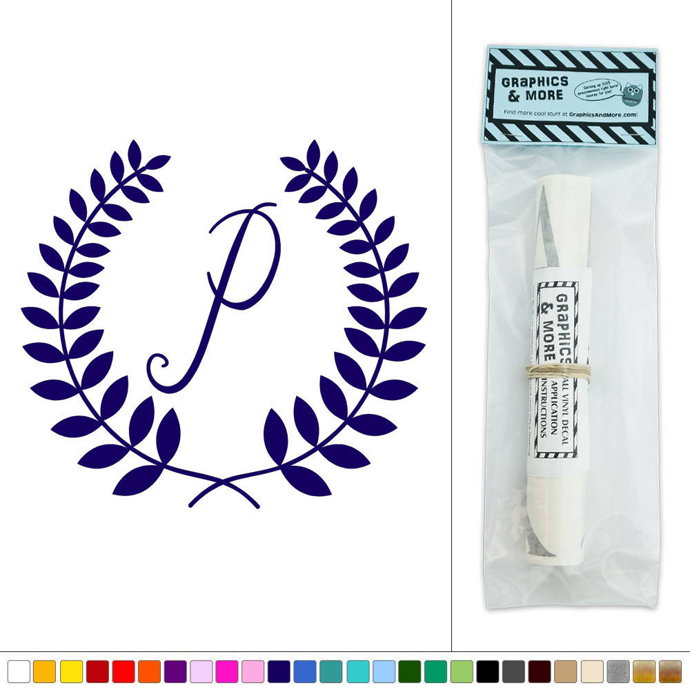 Letter P Wall Decor Letter P Monogram Calligraphy Laurel Wreath Vinyl Sticker Decal