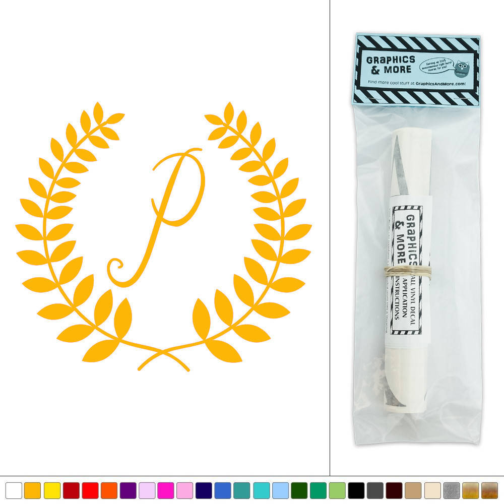 Letter P Monogram Calligraphy Laurel Wreath Vinyl Sticker Decal Wall ...
