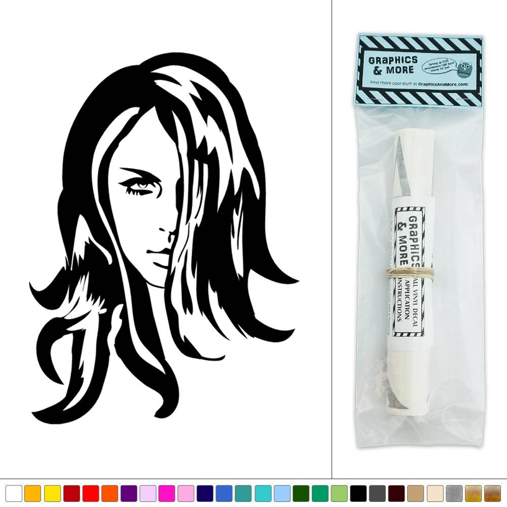 Pretty sultry woman beautiful hair salon model sticker for Stickers salon