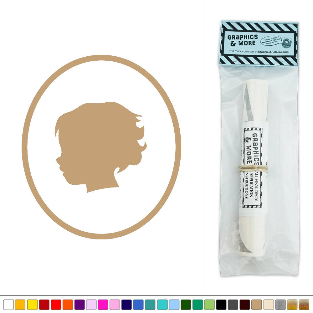 toddler boy profile silhouette oval simple frame victorian