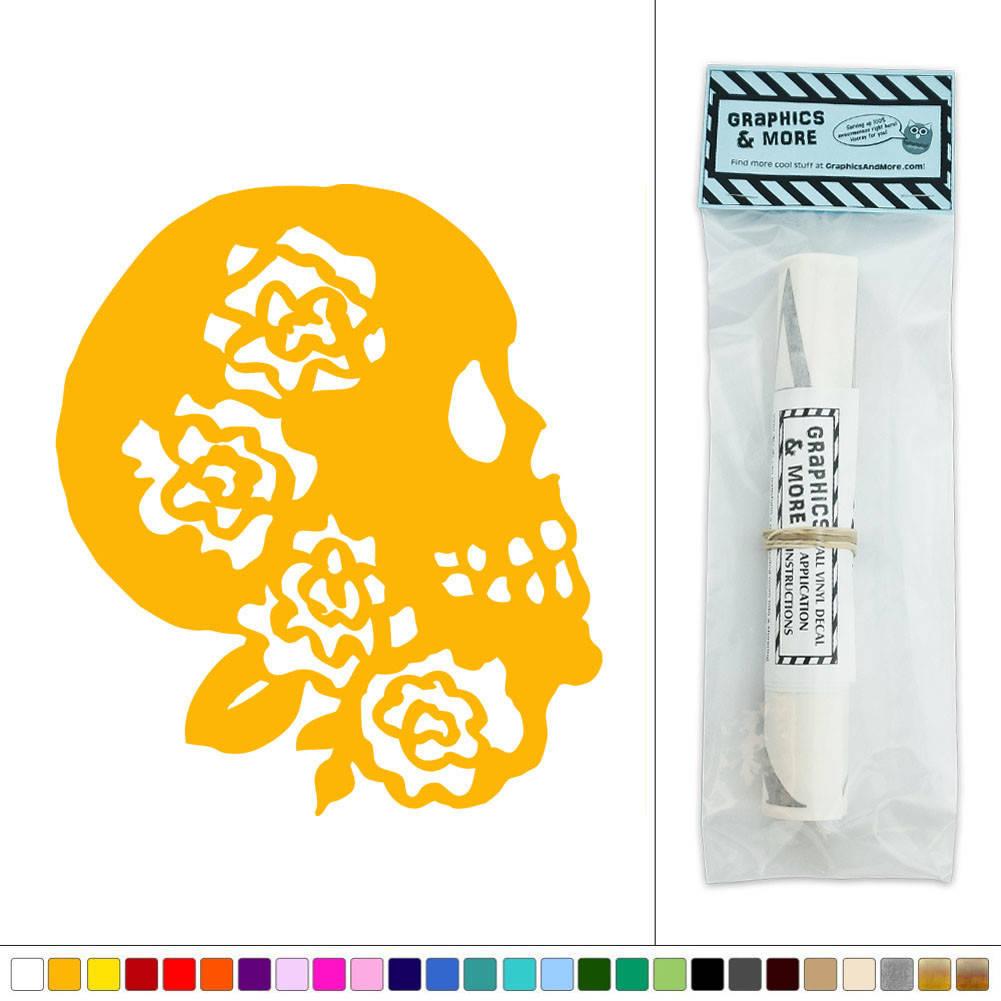 Skull Flowers Floral Design Vinyl Sticker Decal Wall Art