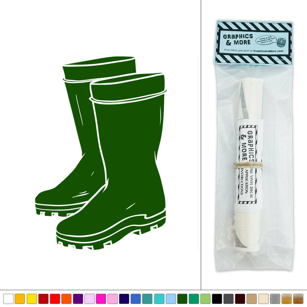 Rubber Boots Rainboots Gardening Vinyl Sticker Decal Wall