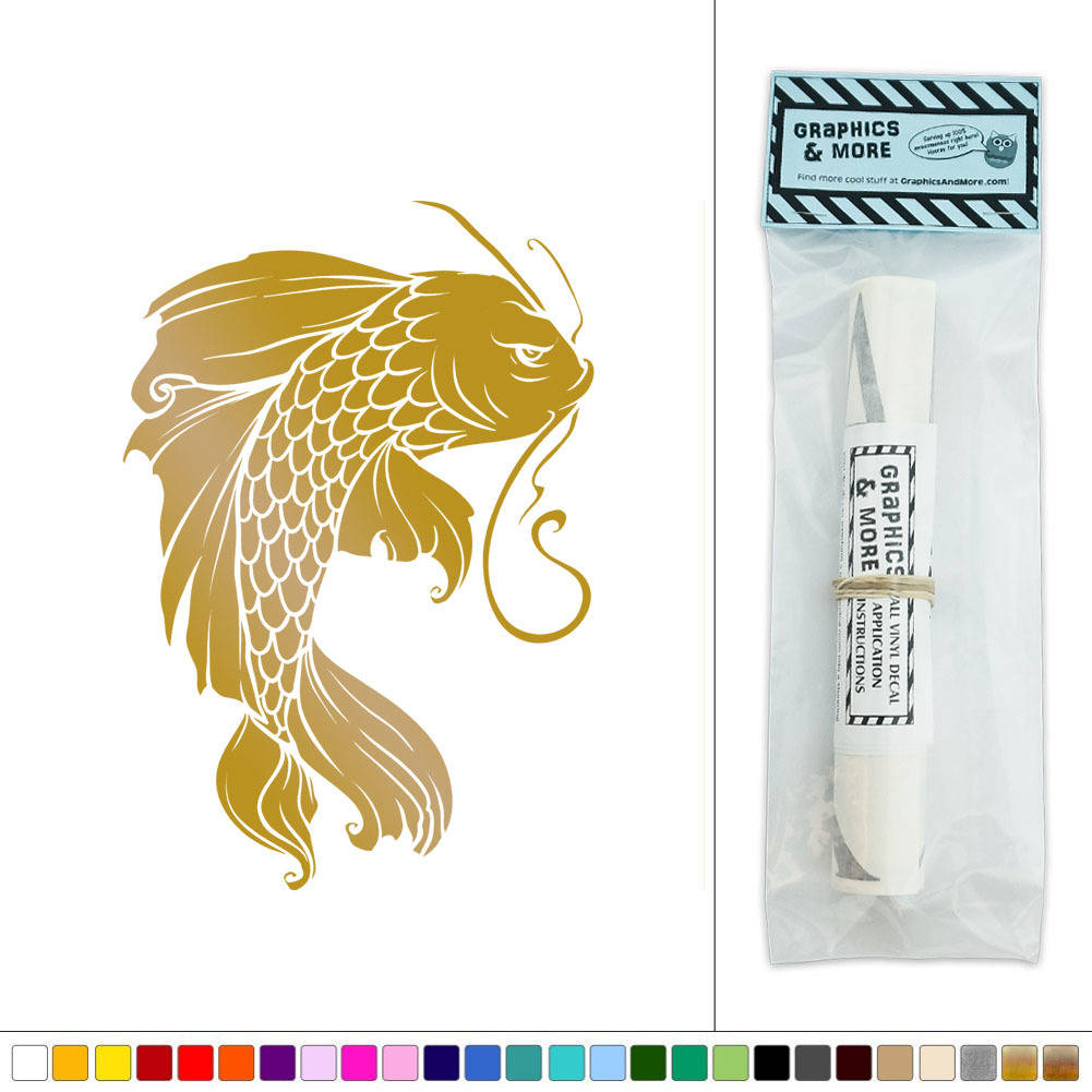Koi Wall Décor In Gold Leaf : Koi fish japanese vinyl sticker decal wall art d?cor