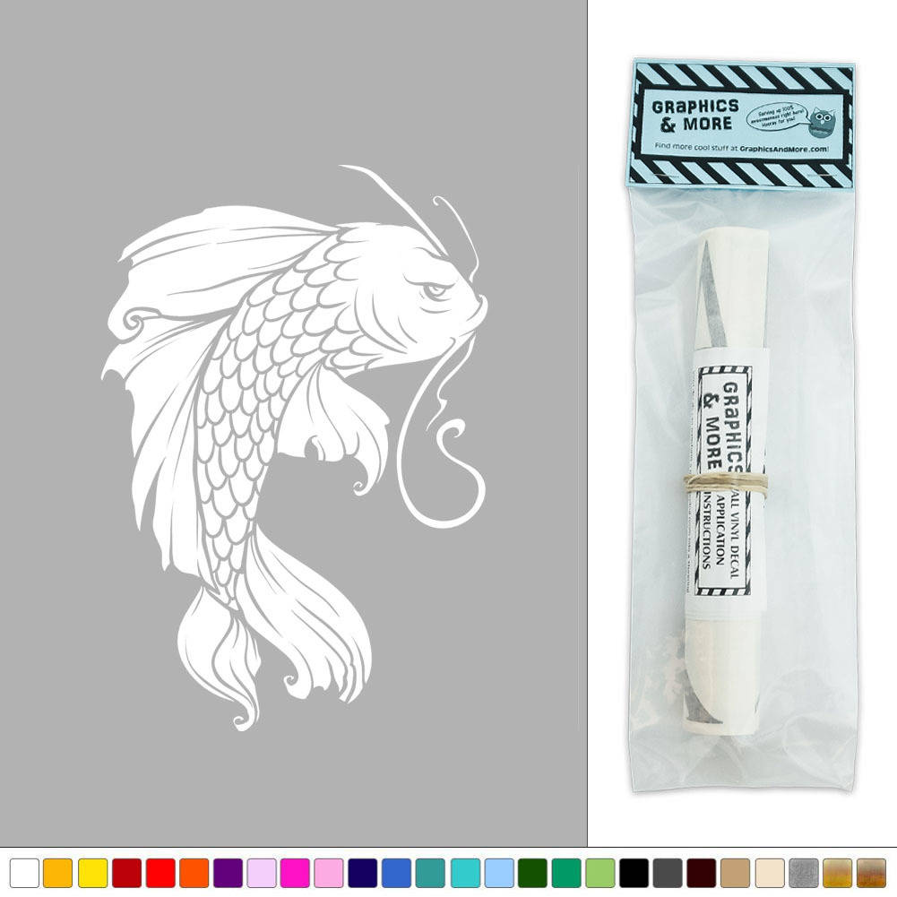 Koi fish japanese vinyl sticker decal wall art d cor ebay for Koi wall decal