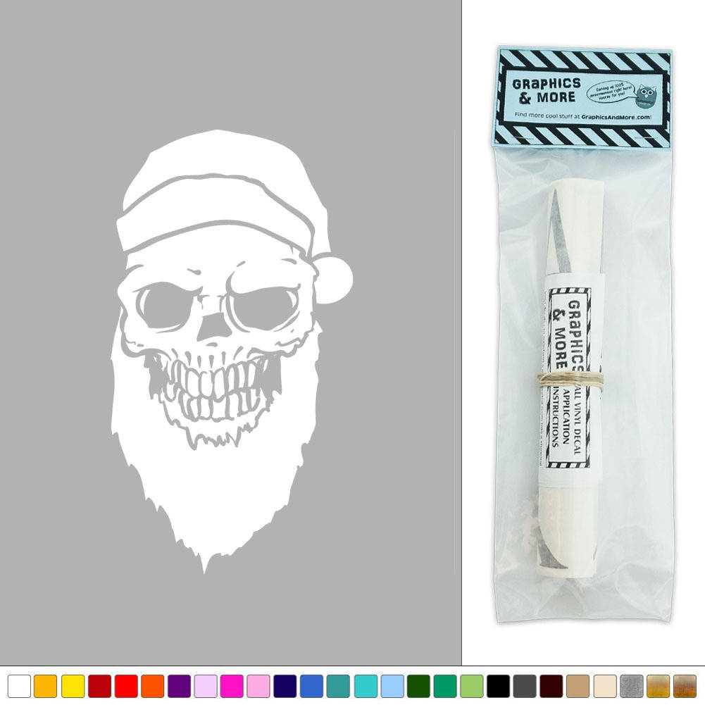 Skull santa hat and beard vinyl sticker decal wall art