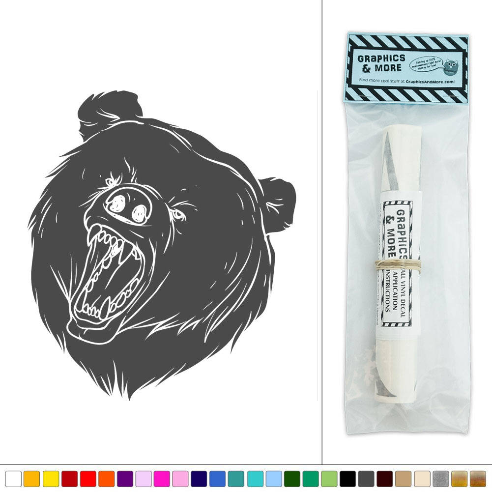 bear head roar wild animal vinyl sticker decal wall art d u00e9cor
